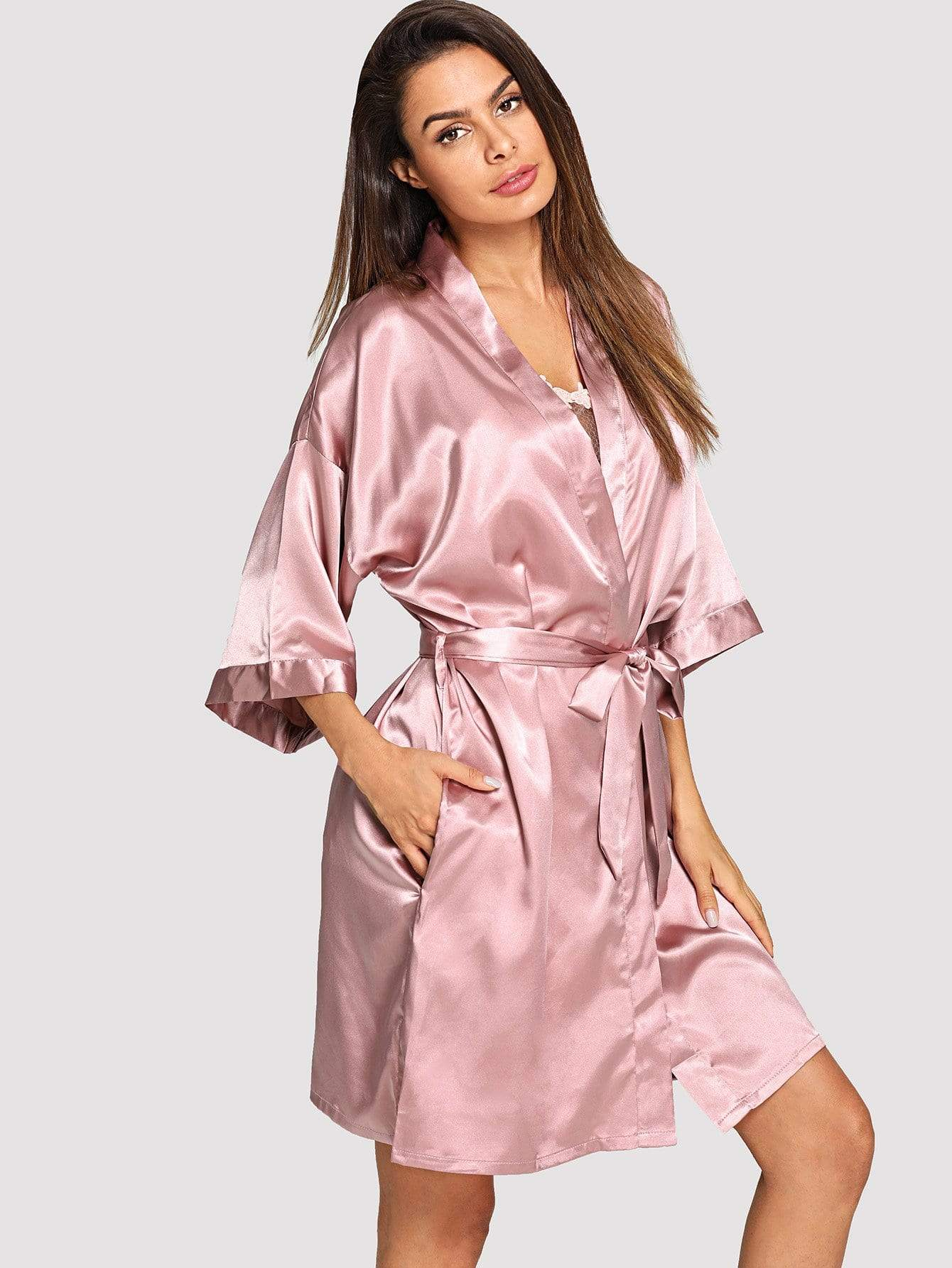 Solid Self Belted Robe - FLJ CORPORATIONS