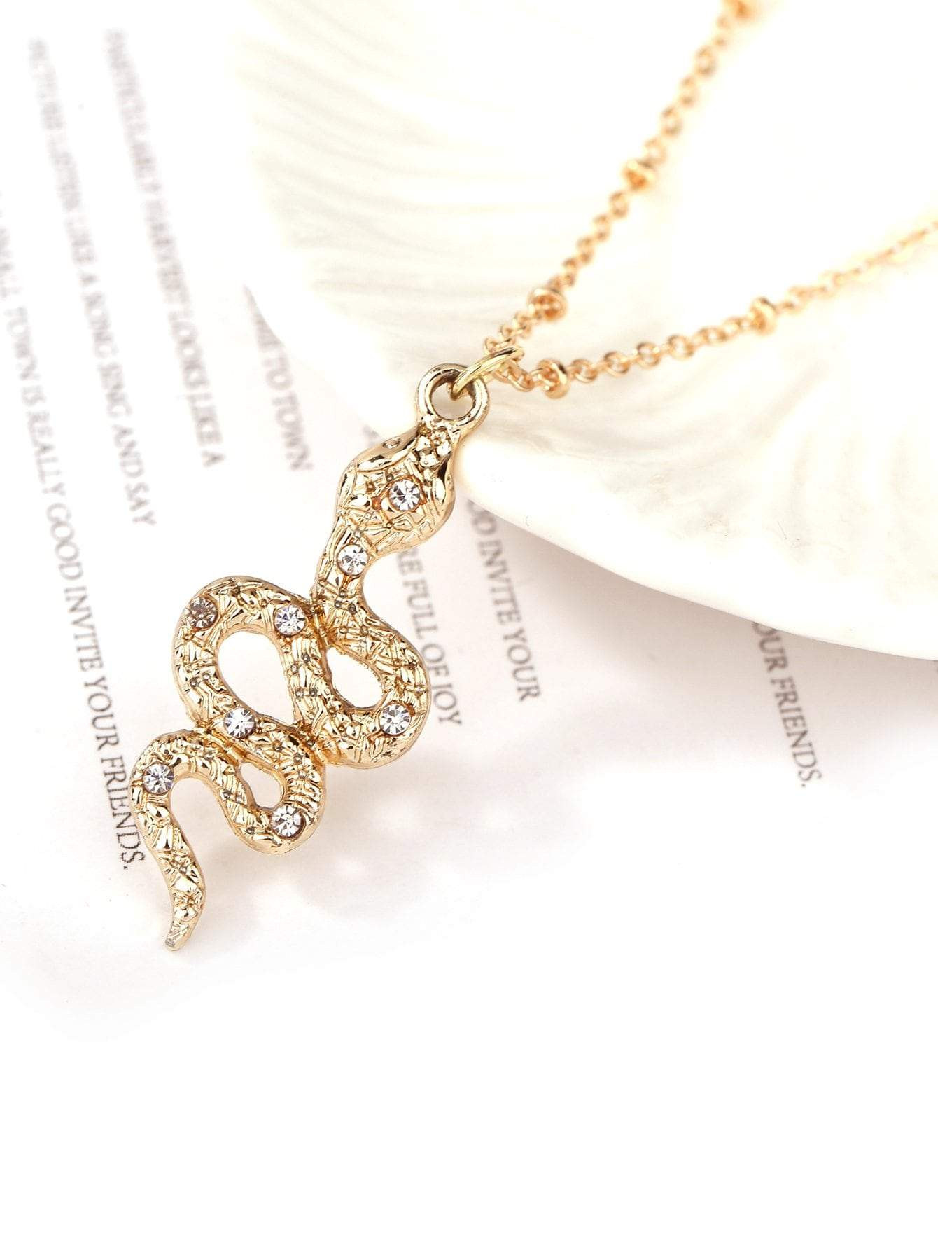 Snake Pendant Necklace & Earrings Set - FLJ CORPORATIONS