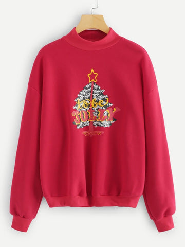 Plus Xmas Tree Printed Sweatshirt - FLJ CORPORATIONS