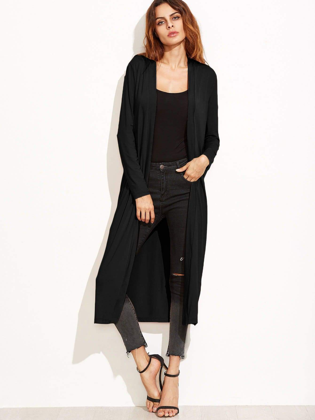 Collarless Longline Duster Coat - FLJ CORPORATIONS