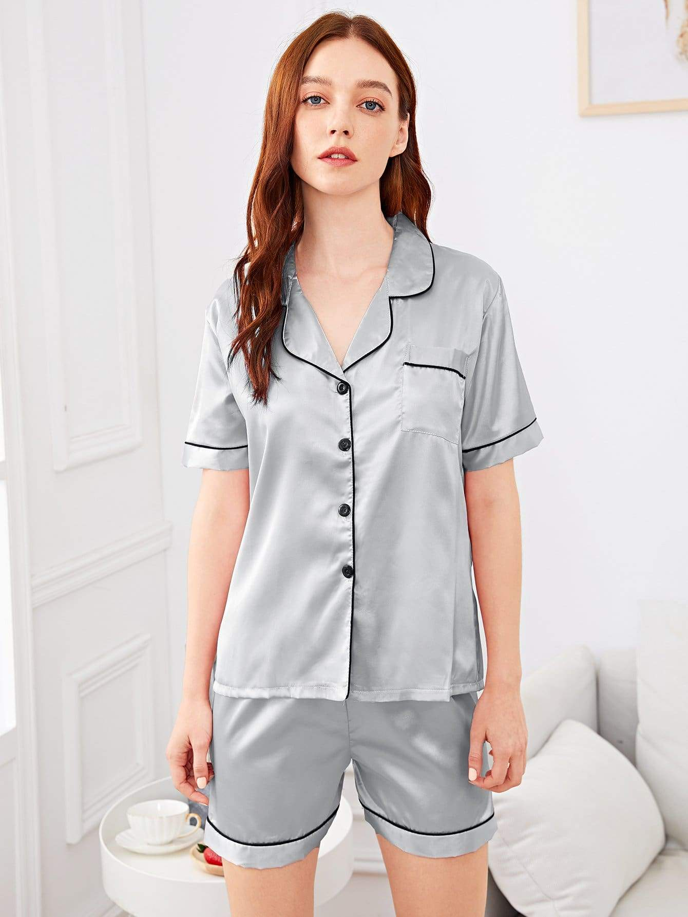 Contrast Binding Button-up Satin Pajama Set - FLJ CORPORATIONS