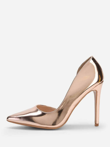 Metallic Pointed Toe Stiletto Heels - FLJ CORPORATIONS