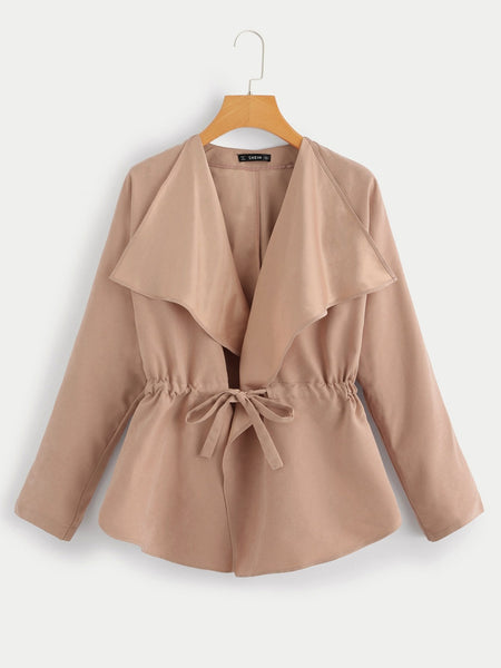 Waist Drawstring Waterfall Solid Coat - FLJ CORPORATIONS