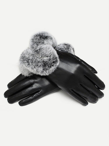 1pair Contrast Faux Fur Gloves - FLJ CORPORATIONS