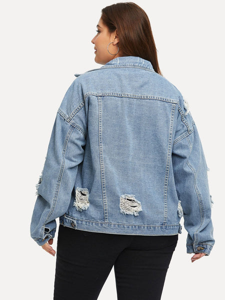Plus Destroyed Denim Jacket - FLJ CORPORATIONS