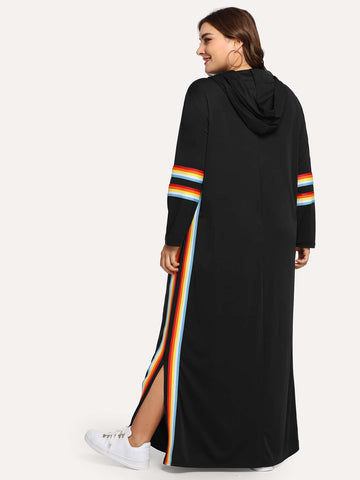 Plus Rainbow Striped Tape Sweatshirt Dress - FLJ CORPORATIONS