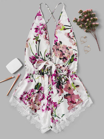 Plus Lace Trim Criss Cross Backless Floral Romper Bodysuit