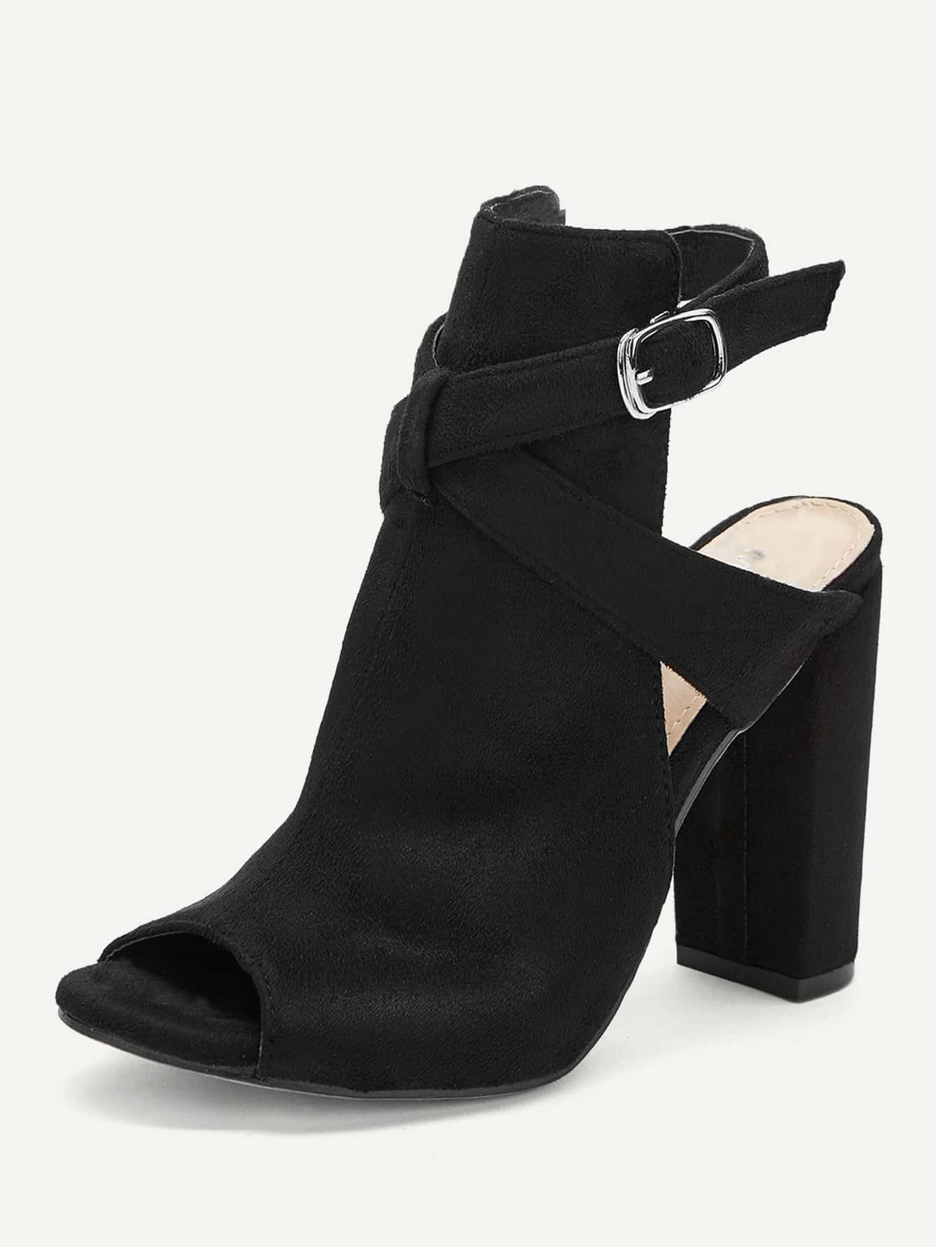 Plain Buckle Decorated Chunky Heels - FLJ CORPORATIONS