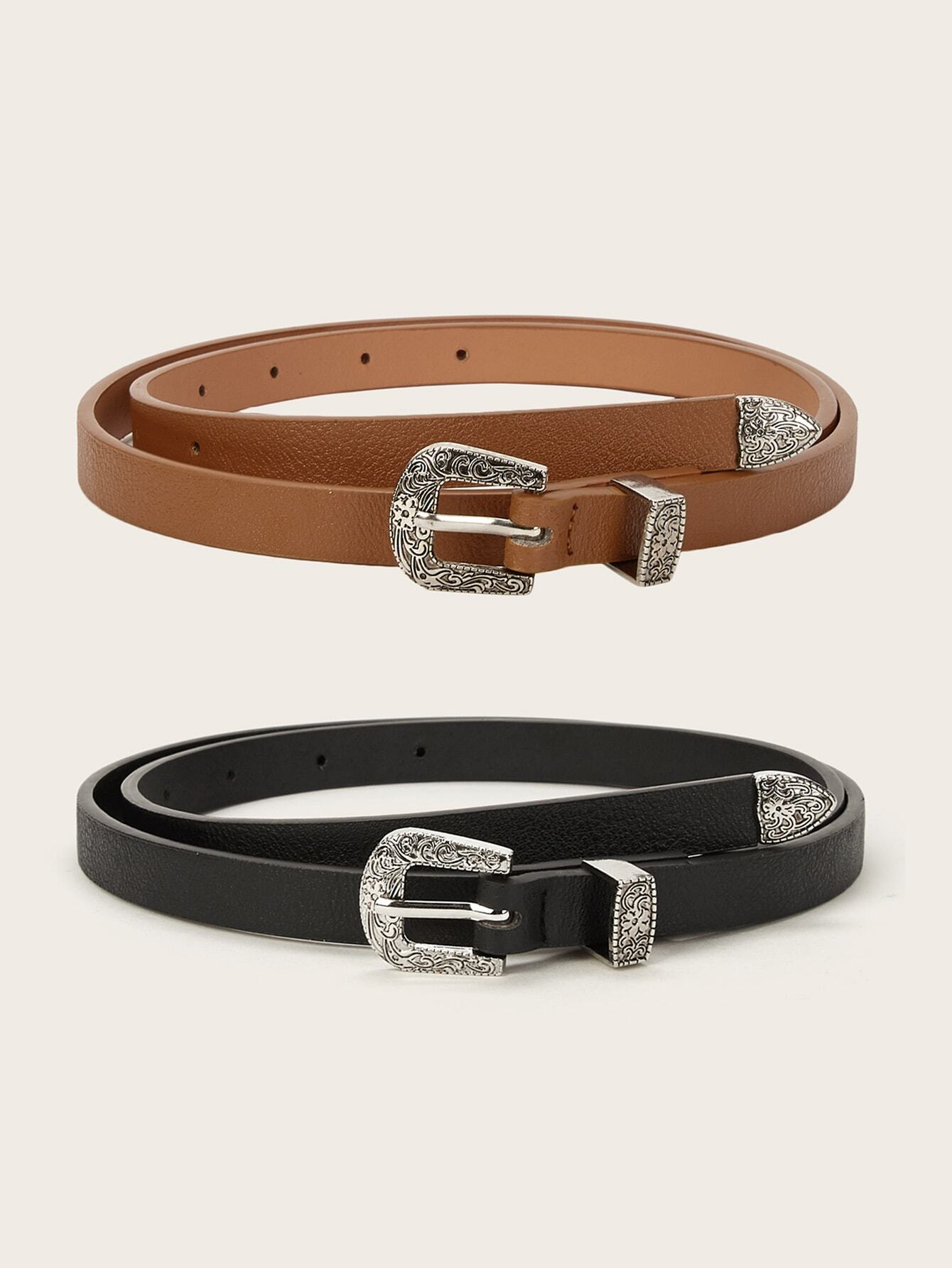 Textured Buckle Belt 2pack - FLJ CORPORATIONS