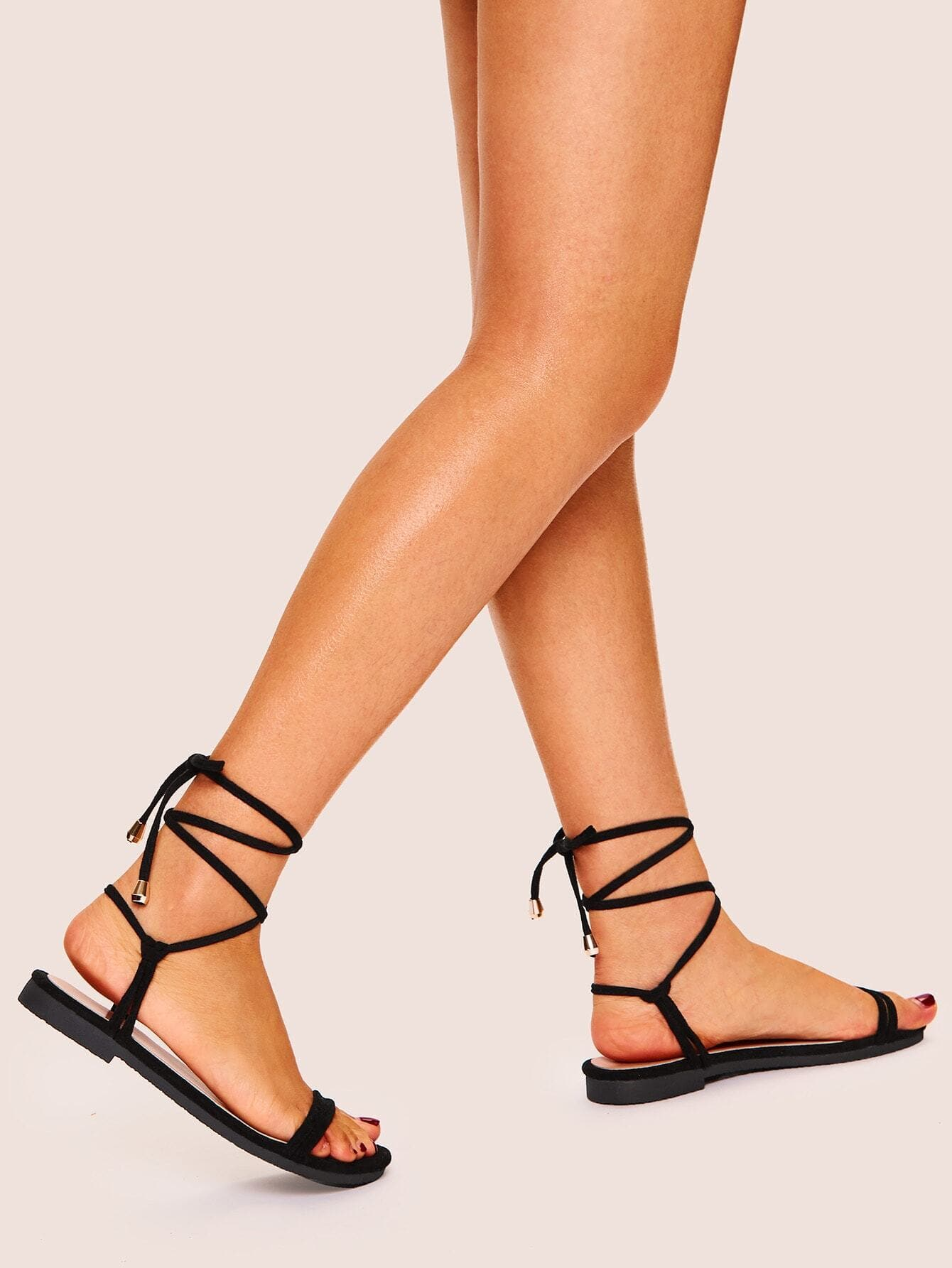 Lace-up Strappy Flat Sandals - FLJ CORPORATIONS