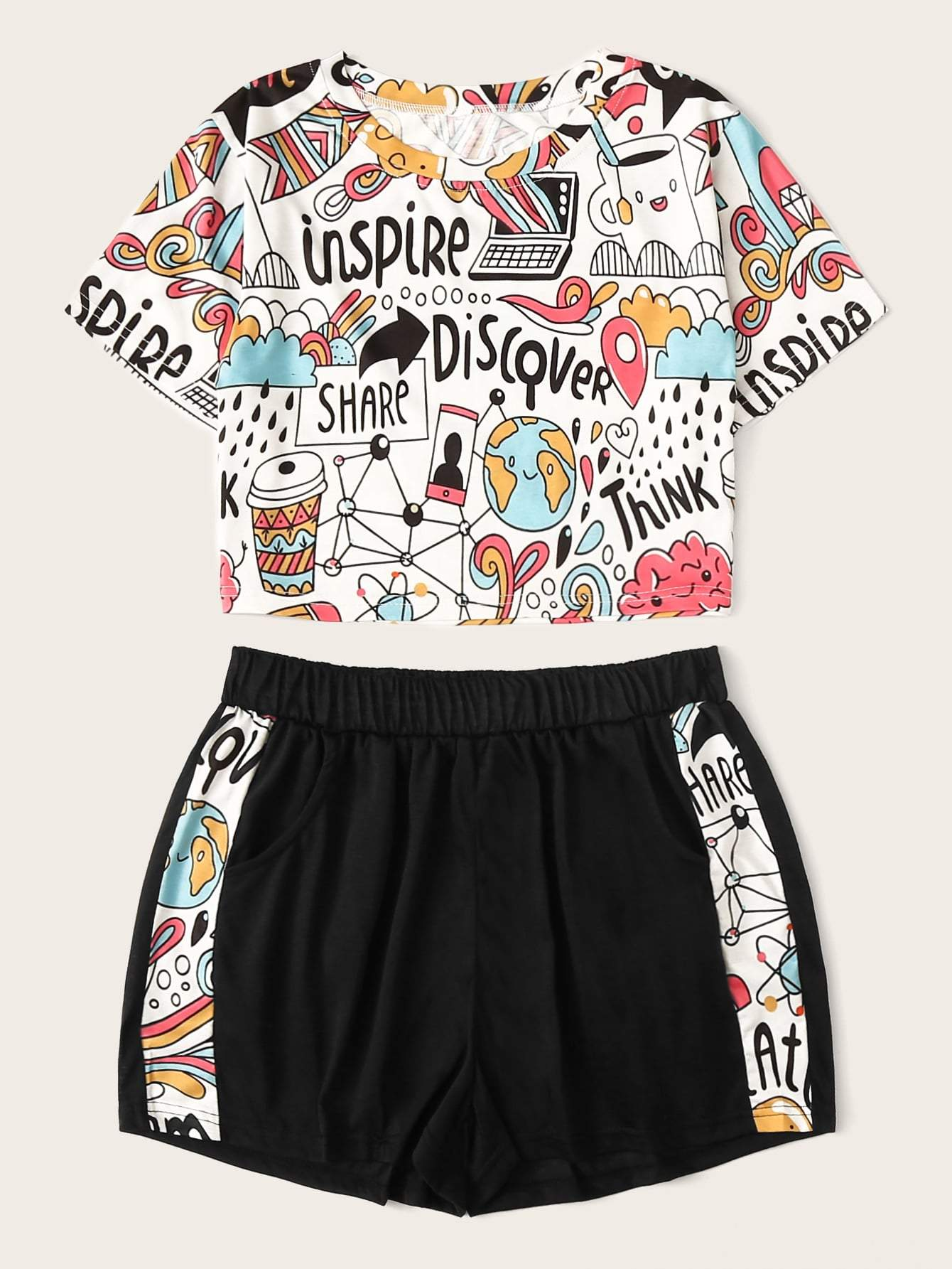 Cartoon Print Top With Shorts - FLJ CORPORATIONS