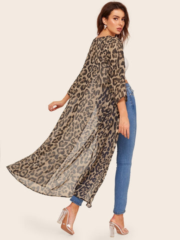 Drop Shoulder Leopard Kimono - FLJ CORPORATIONS