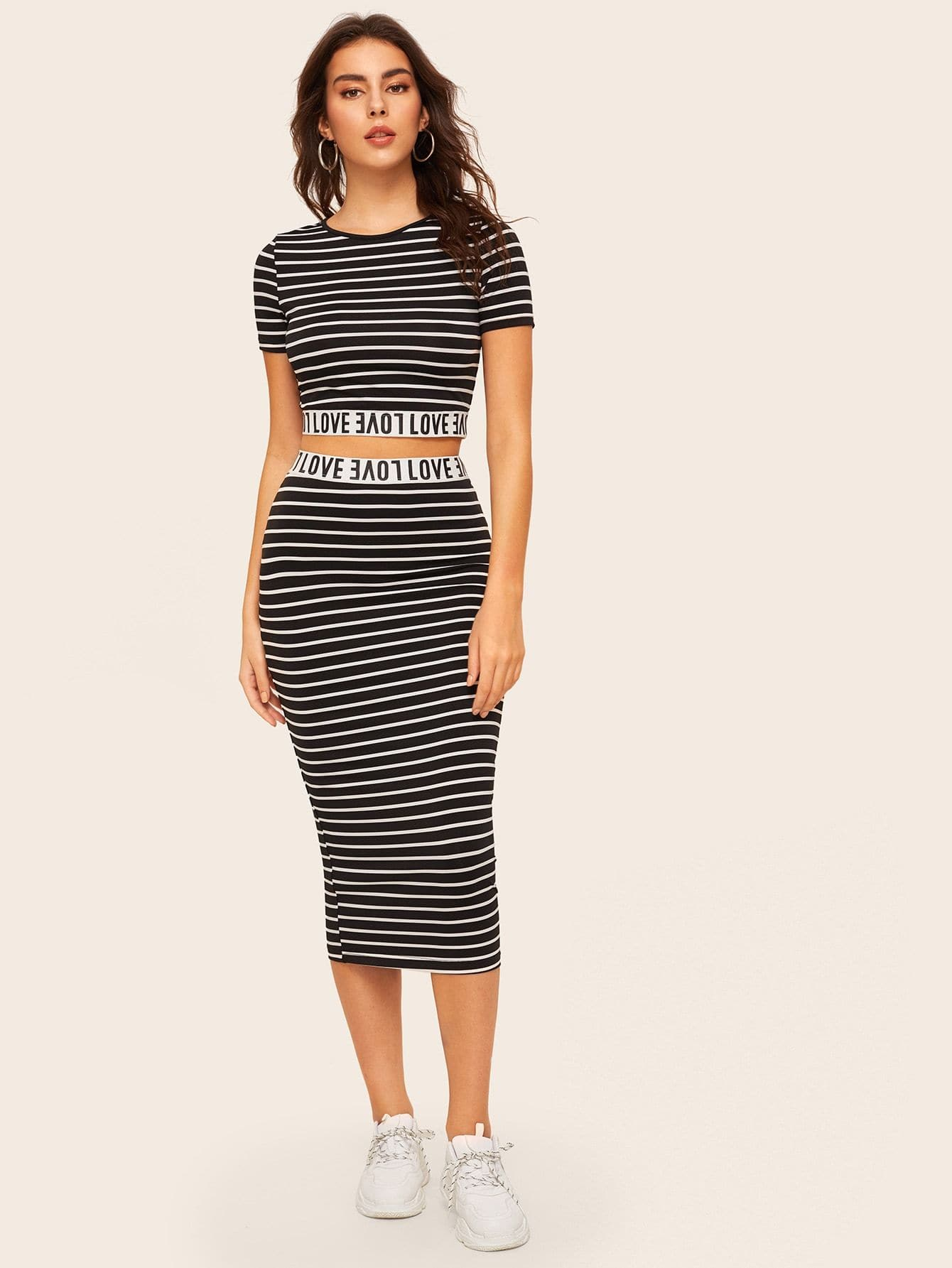 Love Graphic Striped Crop Top & Skirt Set - FLJ CORPORATIONS