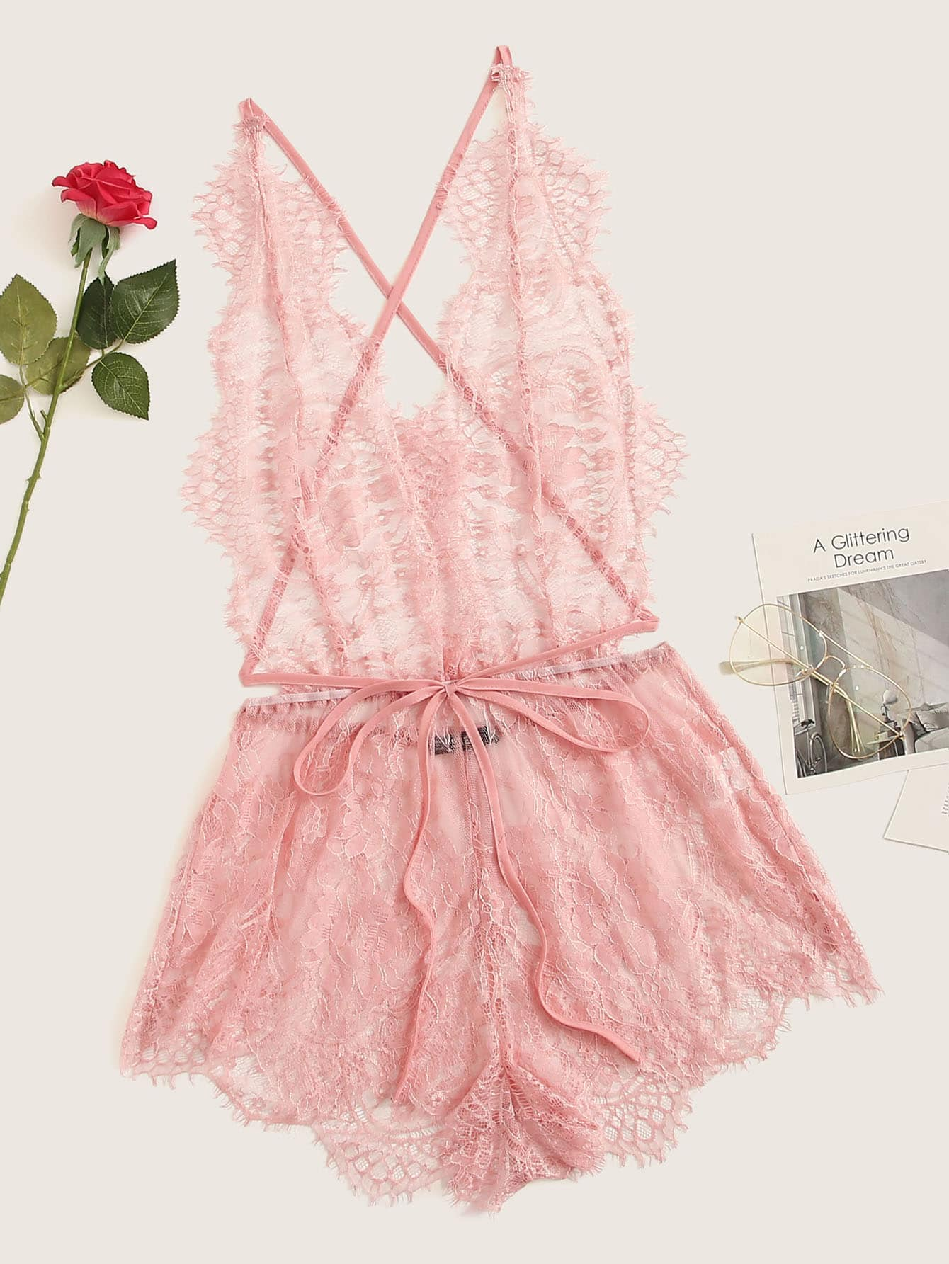 Eyelash Lace Plunging Sleep Romper - FLJ CORPORATIONS