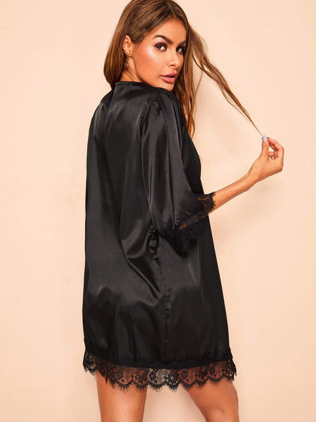 Lace Trim Satin Robe With Thong & Belt - FLJ CORPORATIONS