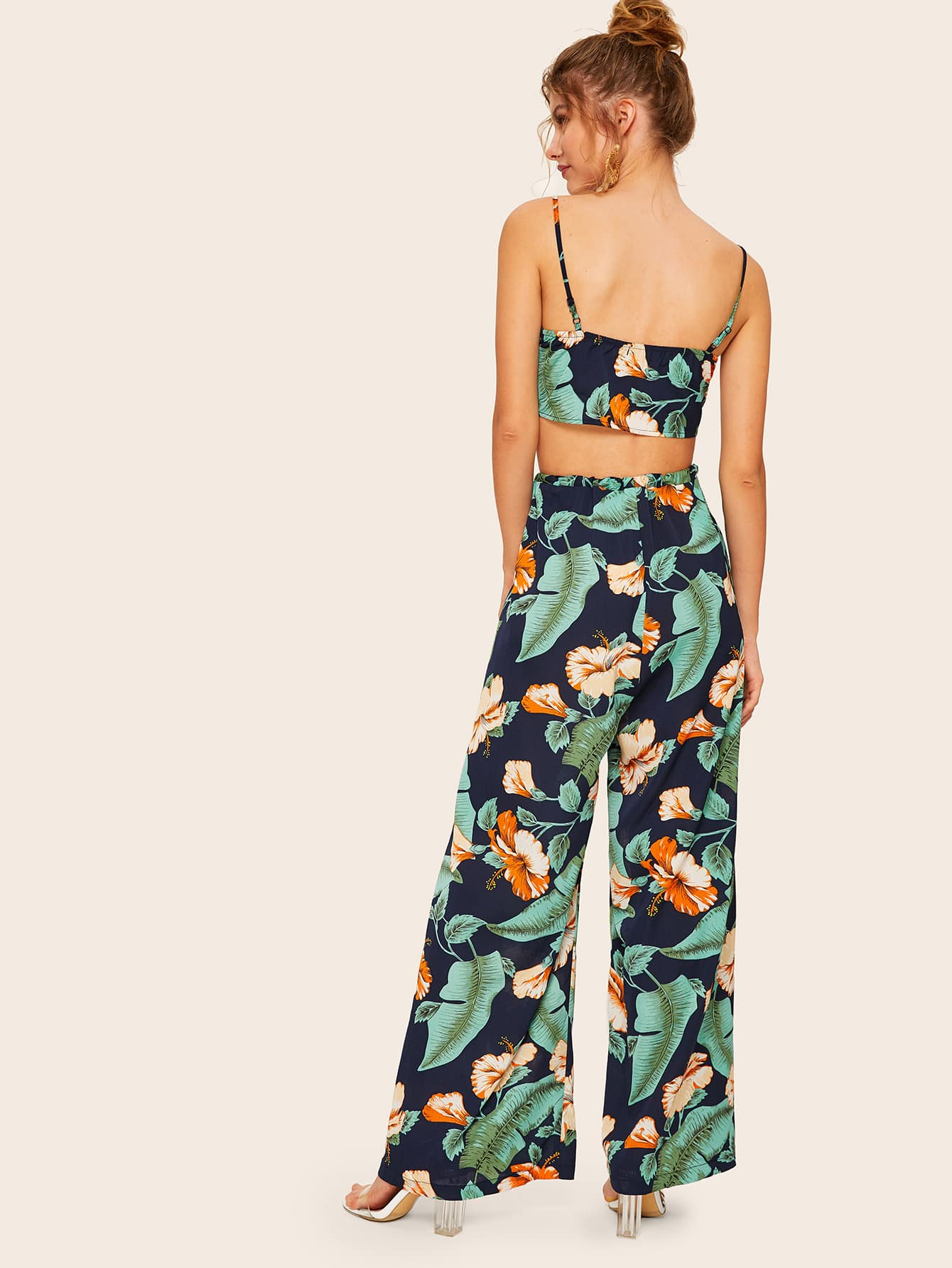 Knot Front Cami Top and Wrap Split Pants Set - FLJ CORPORATIONS