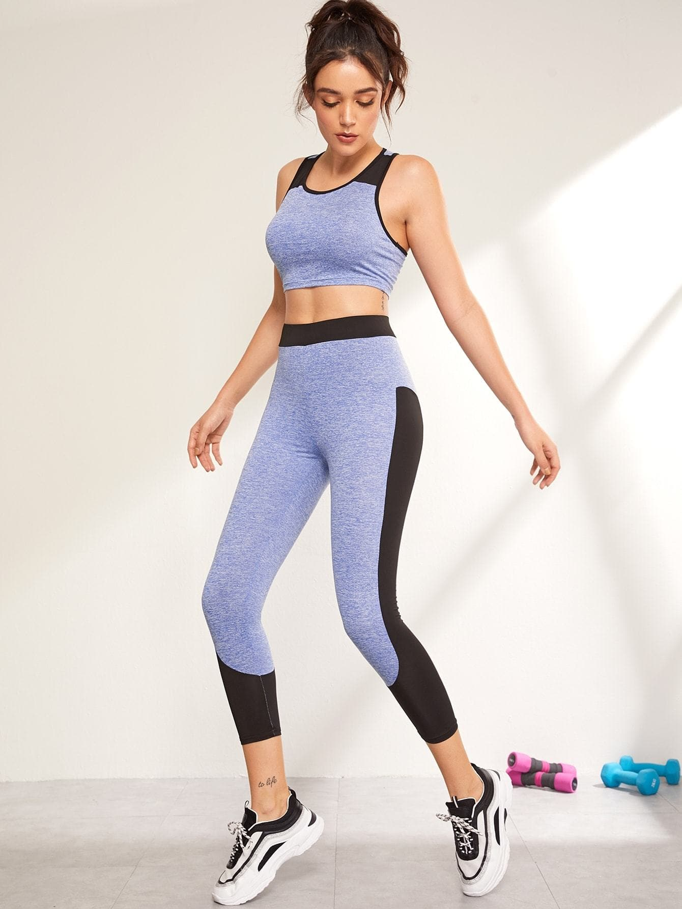 Color-block Marled Racer Back Top & Leggings Set - FLJ CORPORATIONS