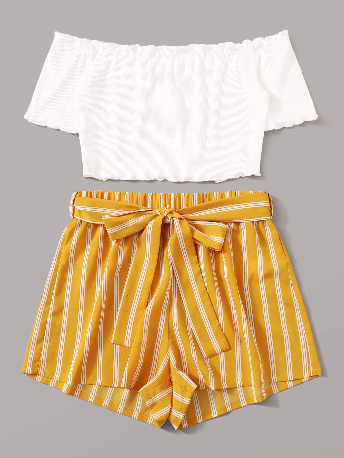 Off Shoulder Top and Self Belted Shorts Set - FLJ CORPORATIONS