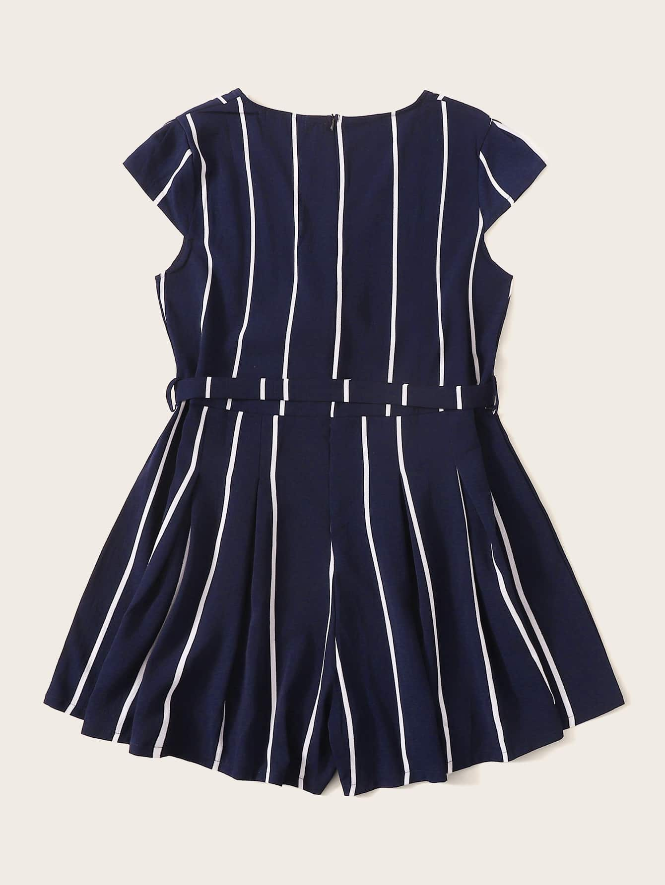 Plus Striped Belted Romper - FLJ CORPORATIONS