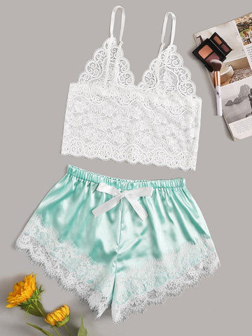 Floral Lace Cami Top With Satin Shorts - FLJ CORPORATIONS