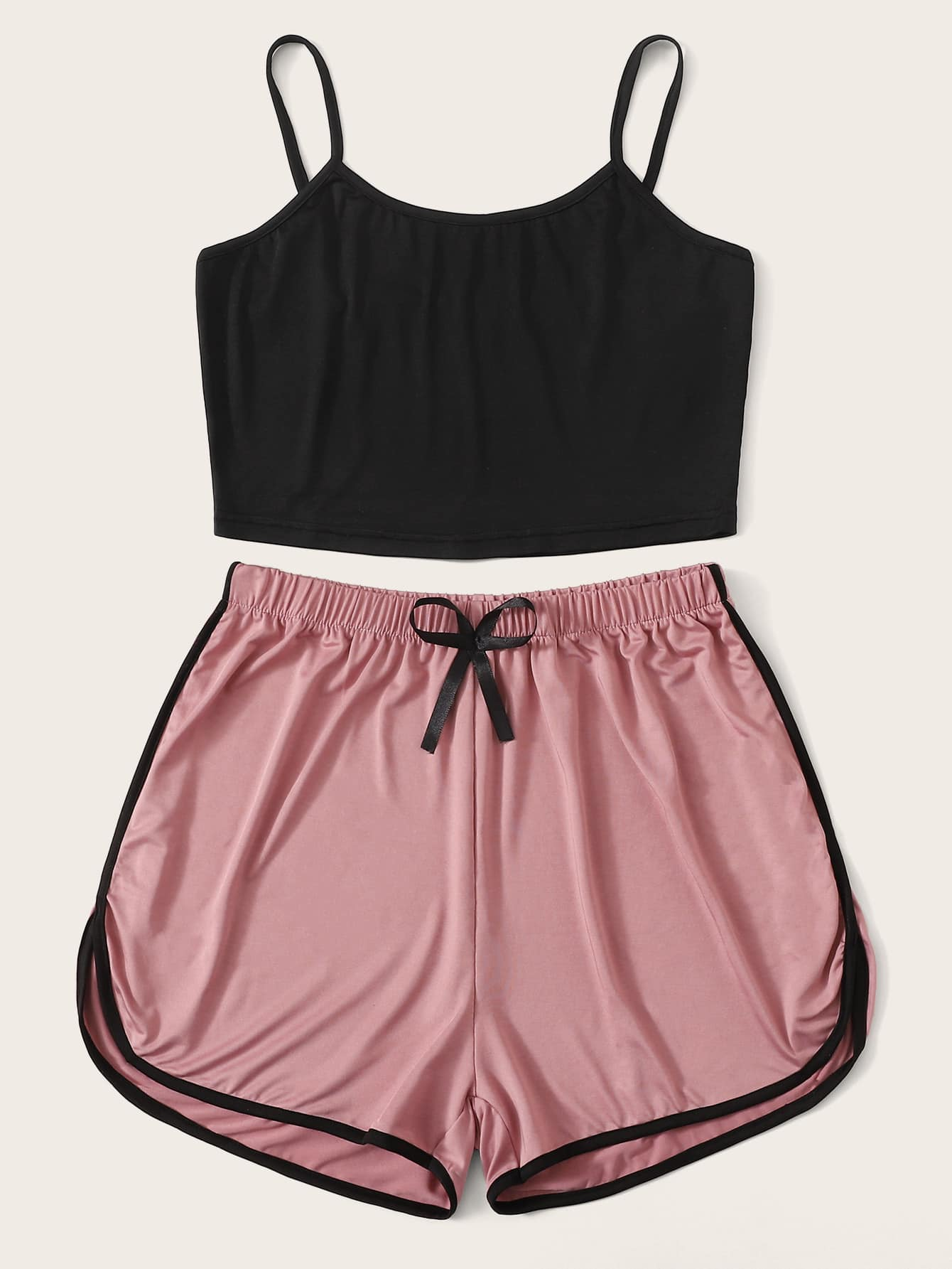 Cami Top With Contrast Binding Shorts PJ Set - FLJ CORPORATIONS
