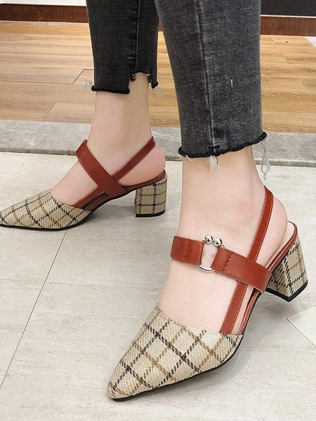 Point Toe Plaid Chunky Heels - FLJ CORPORATIONS