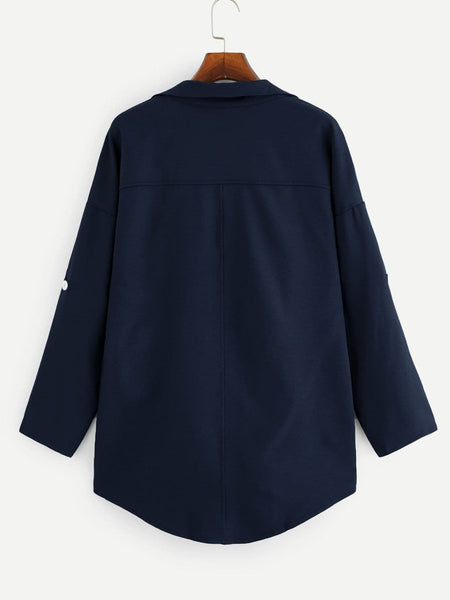 Plus Drop Shoulder Open Front Coat - FLJ CORPORATIONS