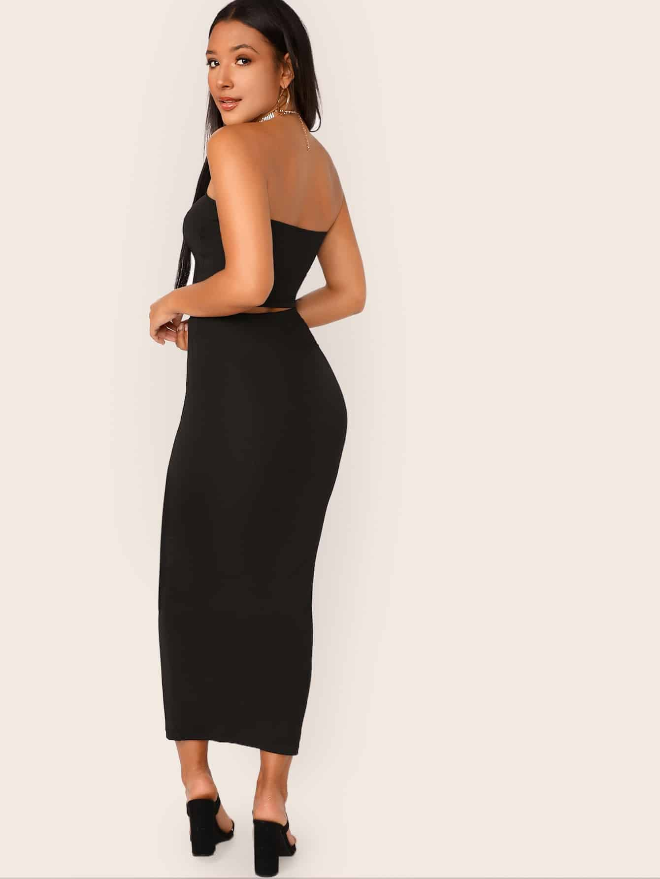Solid Cropped Tube Top & Pencil Midi Skirt Set - FLJ CORPORATIONS