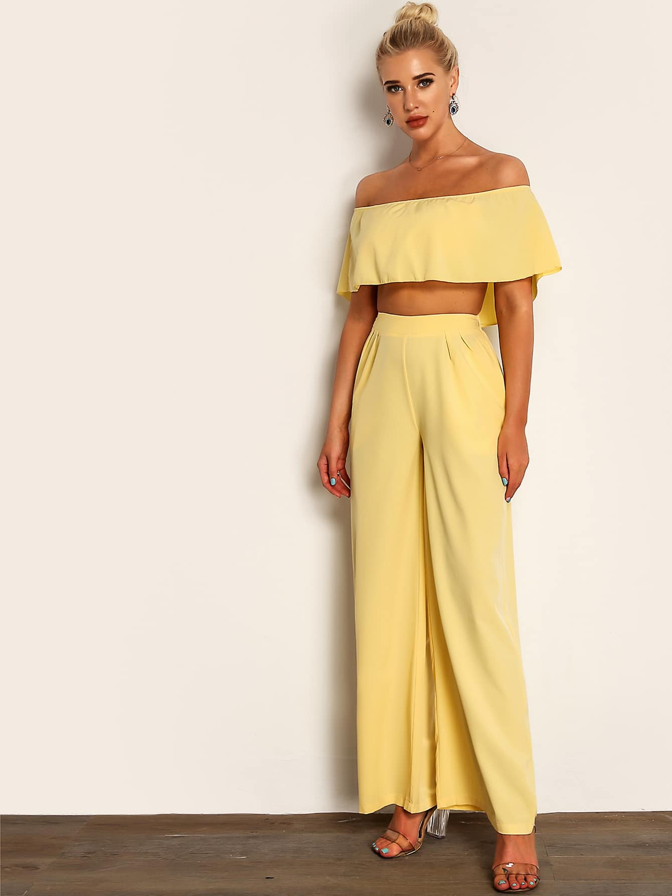 Joyfunear Solid Crop Cape Top and Wide Leg Pants Set - FLJ CORPORATIONS