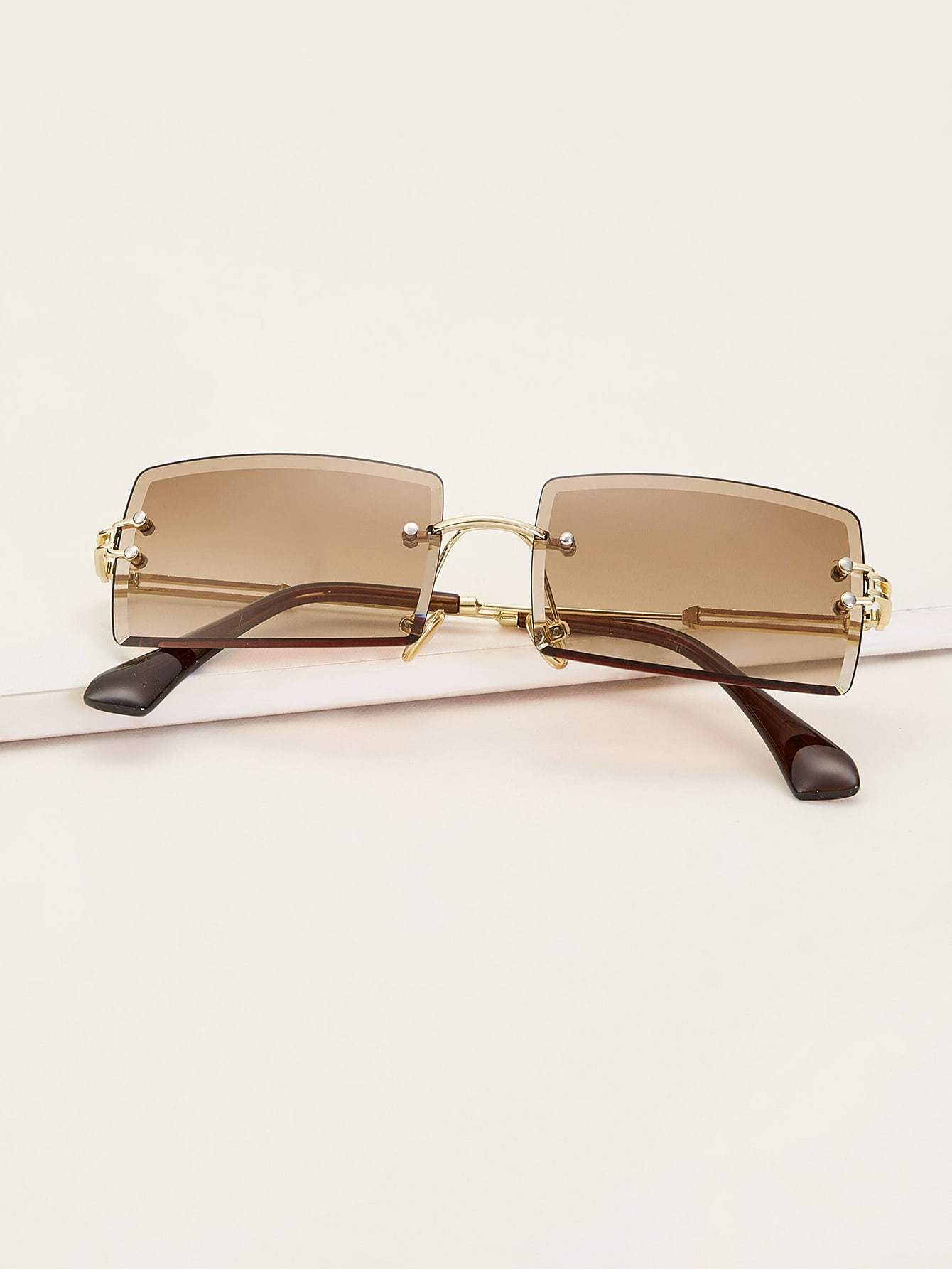 Rimless Square Frame Sunglasses - FLJ CORPORATIONS