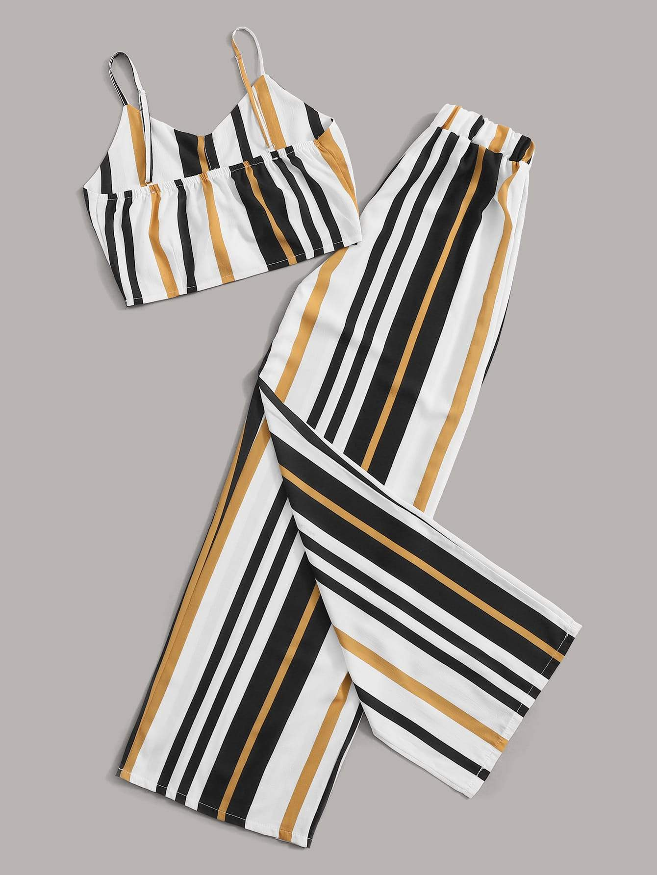 Striped Cami Top With Wide Leg Pants - FLJ CORPORATIONS