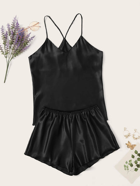Satin Cami Top With Shorts PJ Set - FLJ CORPORATIONS