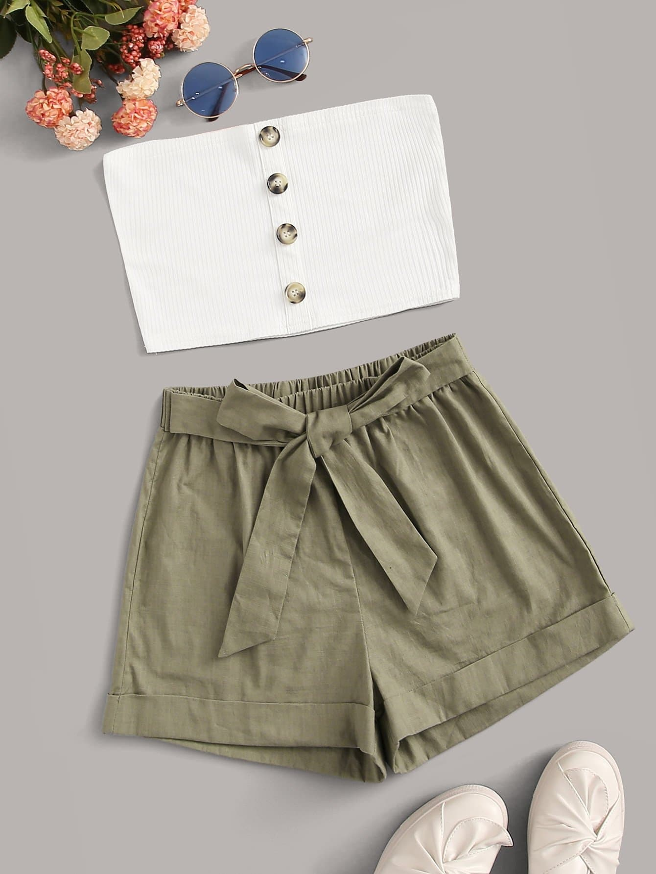 Buttoned Cropped Tube Top & Belted Shorts Set - FLJ CORPORATIONS