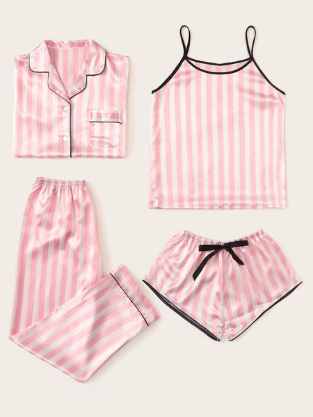 4pcs Striped Satin Pajama Set - FLJ CORPORATIONS