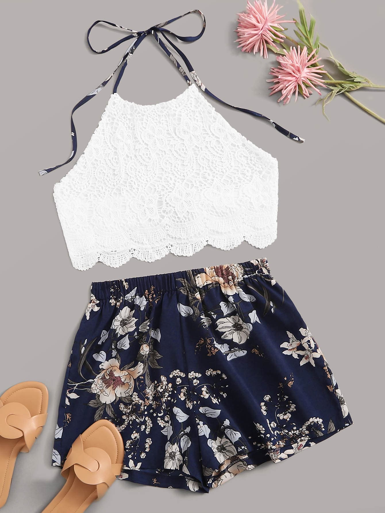 Guipure Lace Scallop Halter Top With Floral Print Shorts - FLJ CORPORATIONS