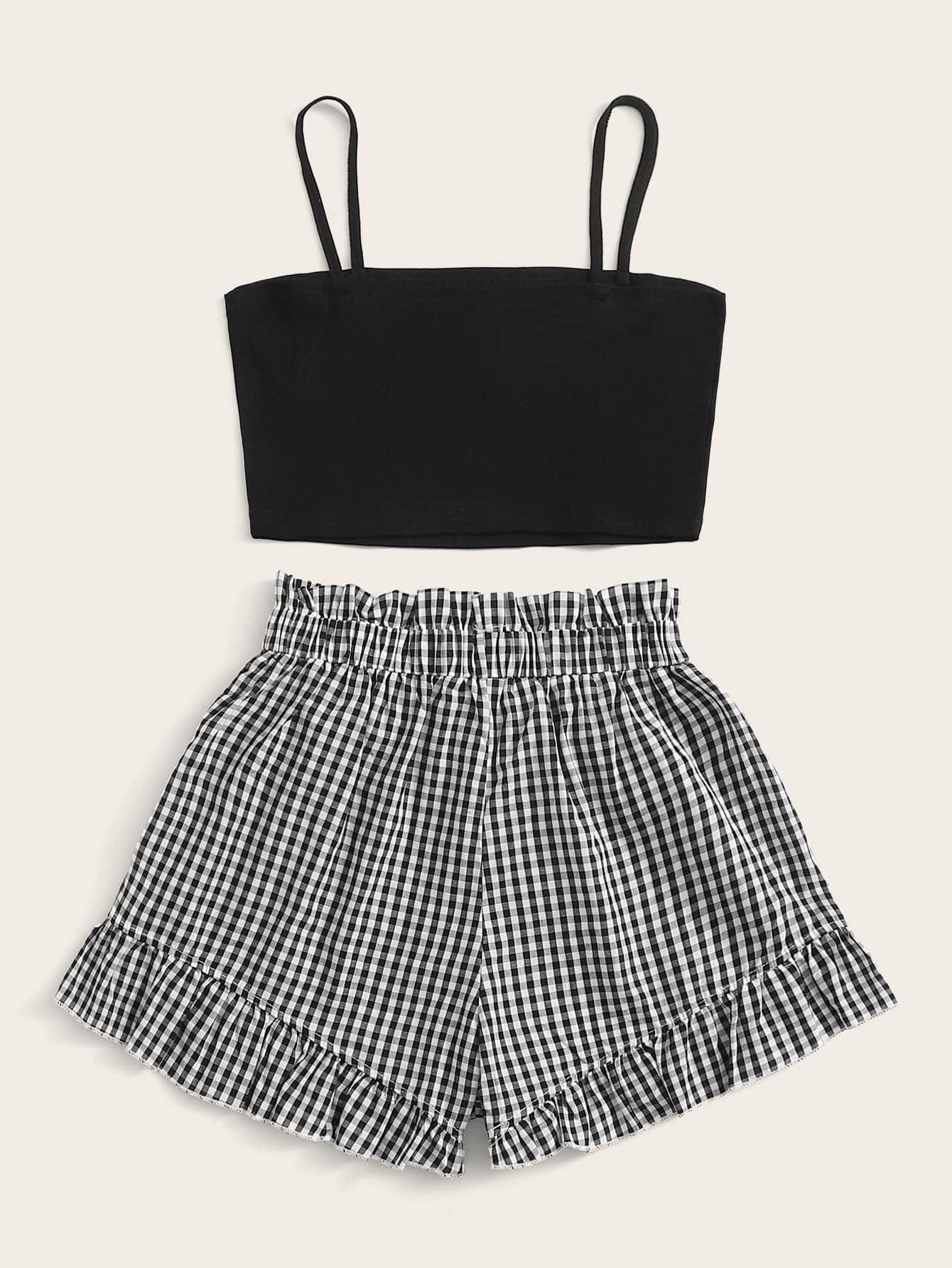 Cropped Cami & Ruffled Gingham Print Shorts Set - FLJ CORPORATIONS