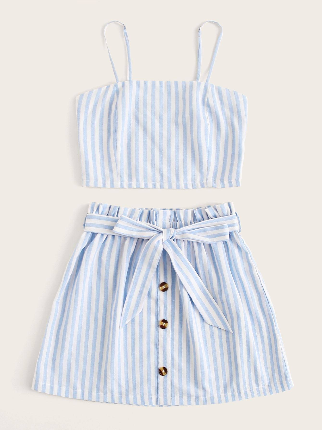 Shirred Striped Cami Top & Button Front Belted Skirt - FLJ CORPORATIONS