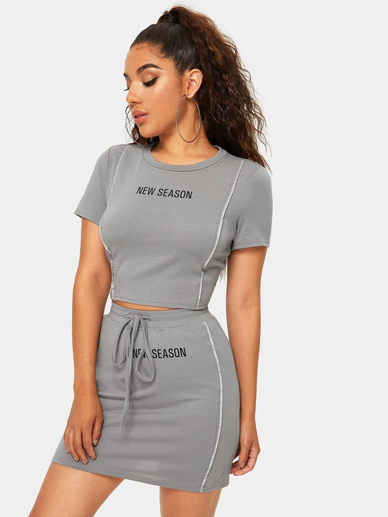 New Season Graphic Tee & Drawstring Mini Skirt Set - FLJ CORPORATIONS