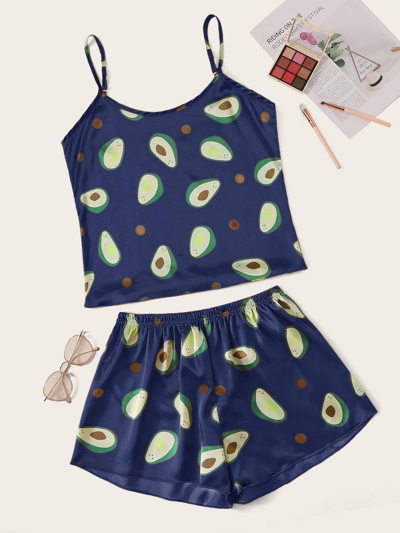 Avocado Print Satin Cami Pajama Set - FLJ CORPORATIONS