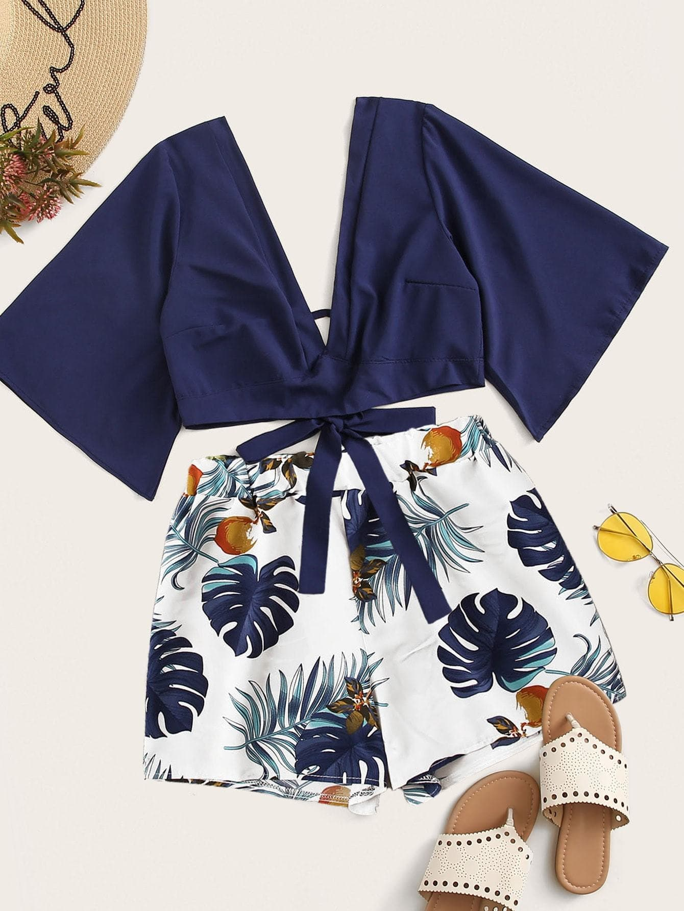 Plunging Self-Tie Top & Tropical Print Shorts Set - FLJ CORPORATIONS