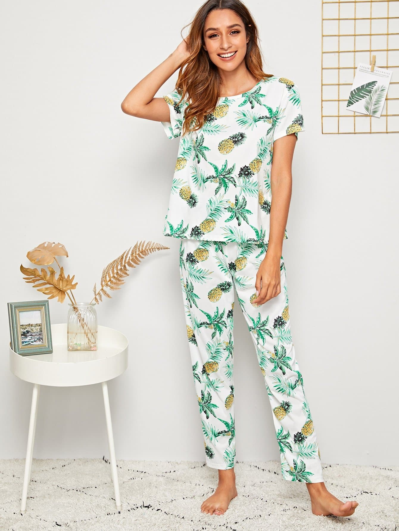 Pineapple & Tropical Print PJ Set With Eye Cover - FLJ CORPORATIONS