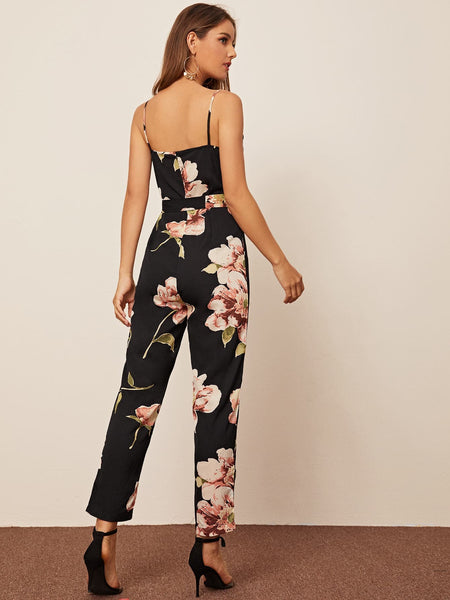 Floral Print Button Front Belted Cami Jumpsuit - FLJ CORPORATIONS