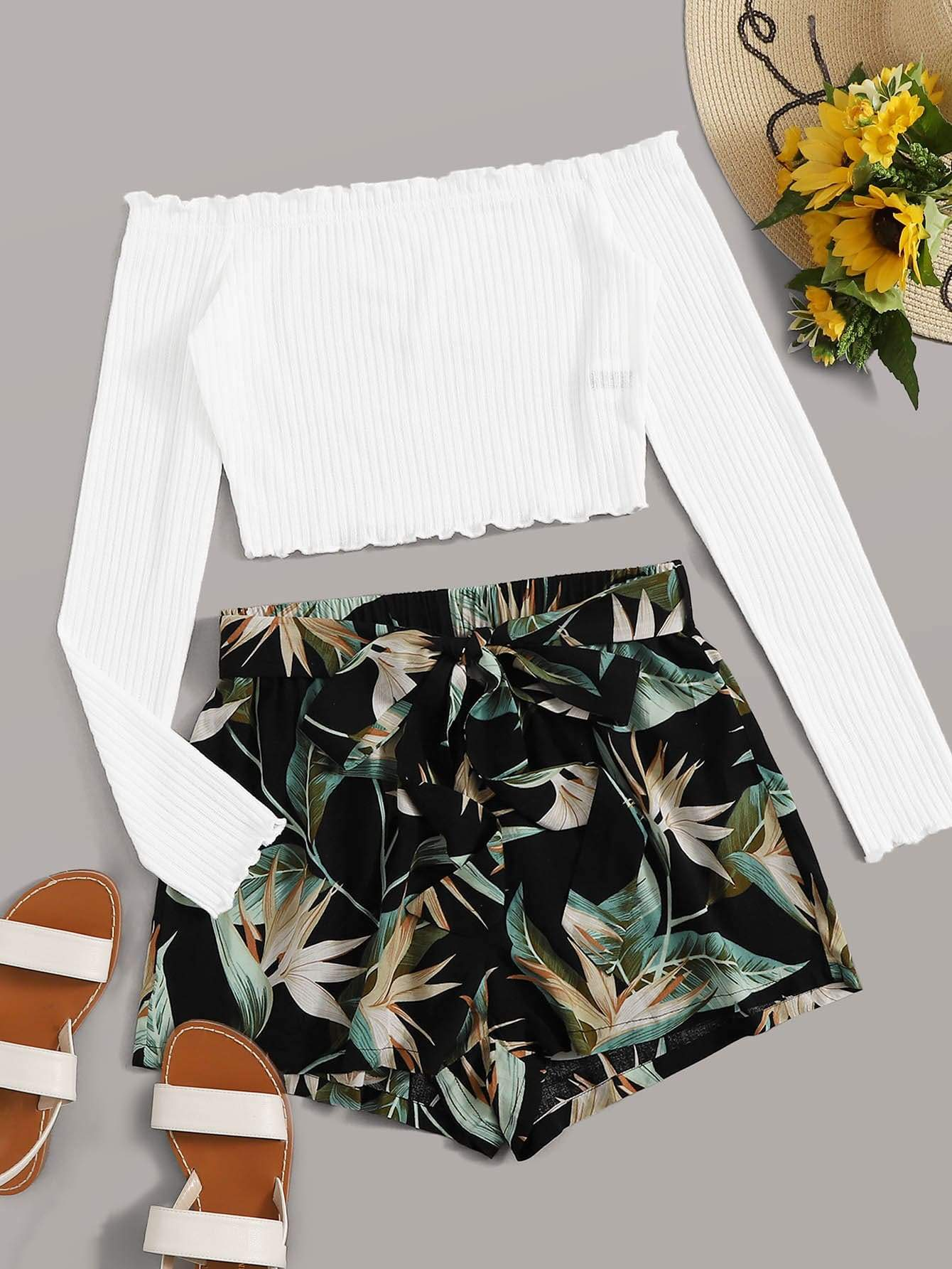 Off-the-Shoulder Crop Top & Tropical Shorts Set - FLJ CORPORATIONS