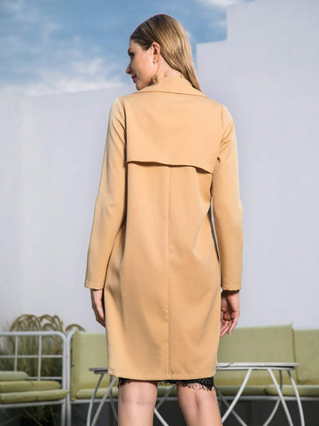 Double Crazy Solid Waterfall Neck Trench Coat - FLJ CORPORATIONS