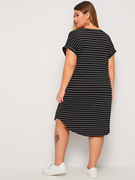 Plus V-neck Curved Hem Striped Tee Dress - FLJ CORPORATIONS