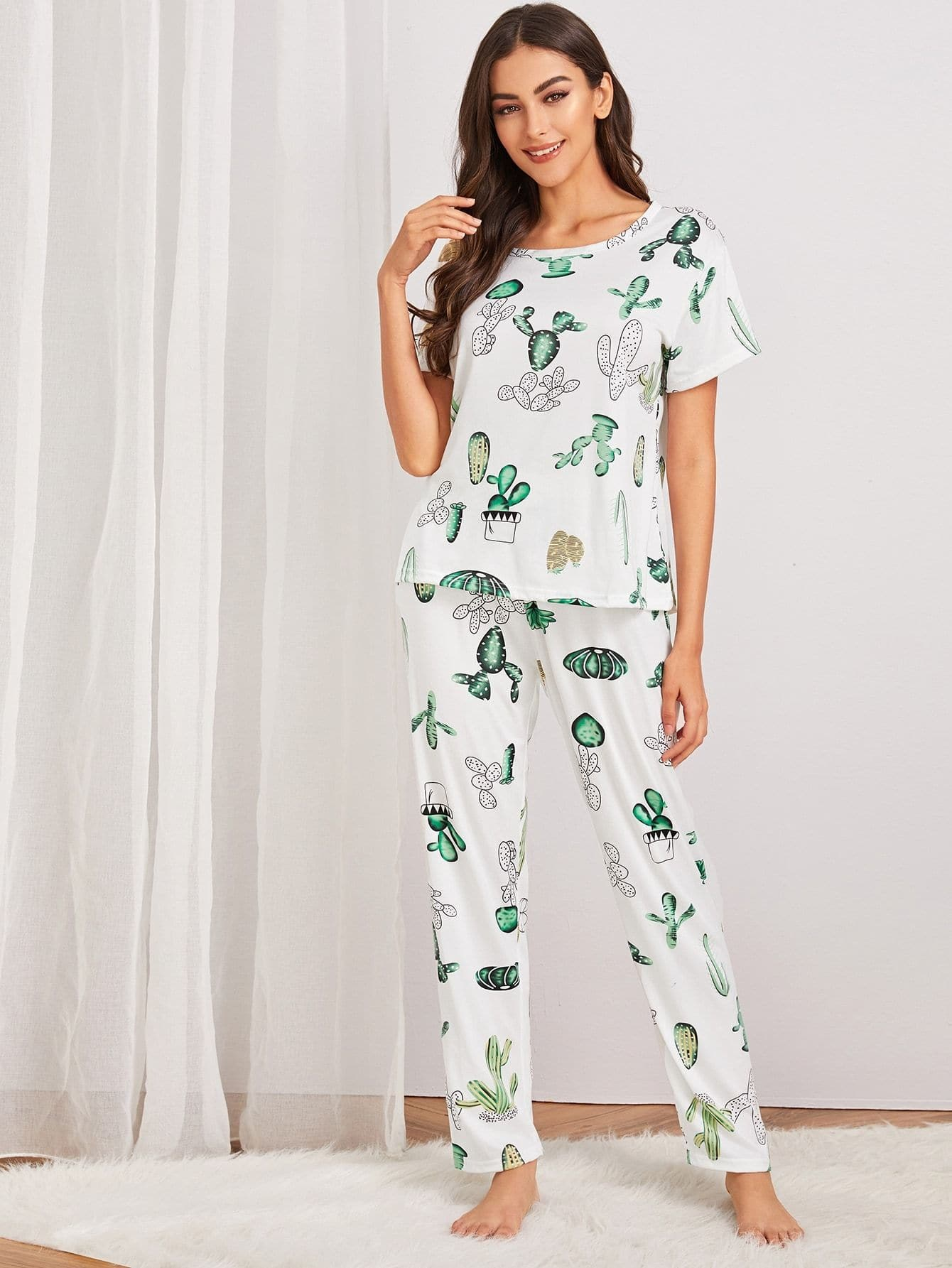 Cactus Print Pajama Set With Eye Cover - FLJ CORPORATIONS