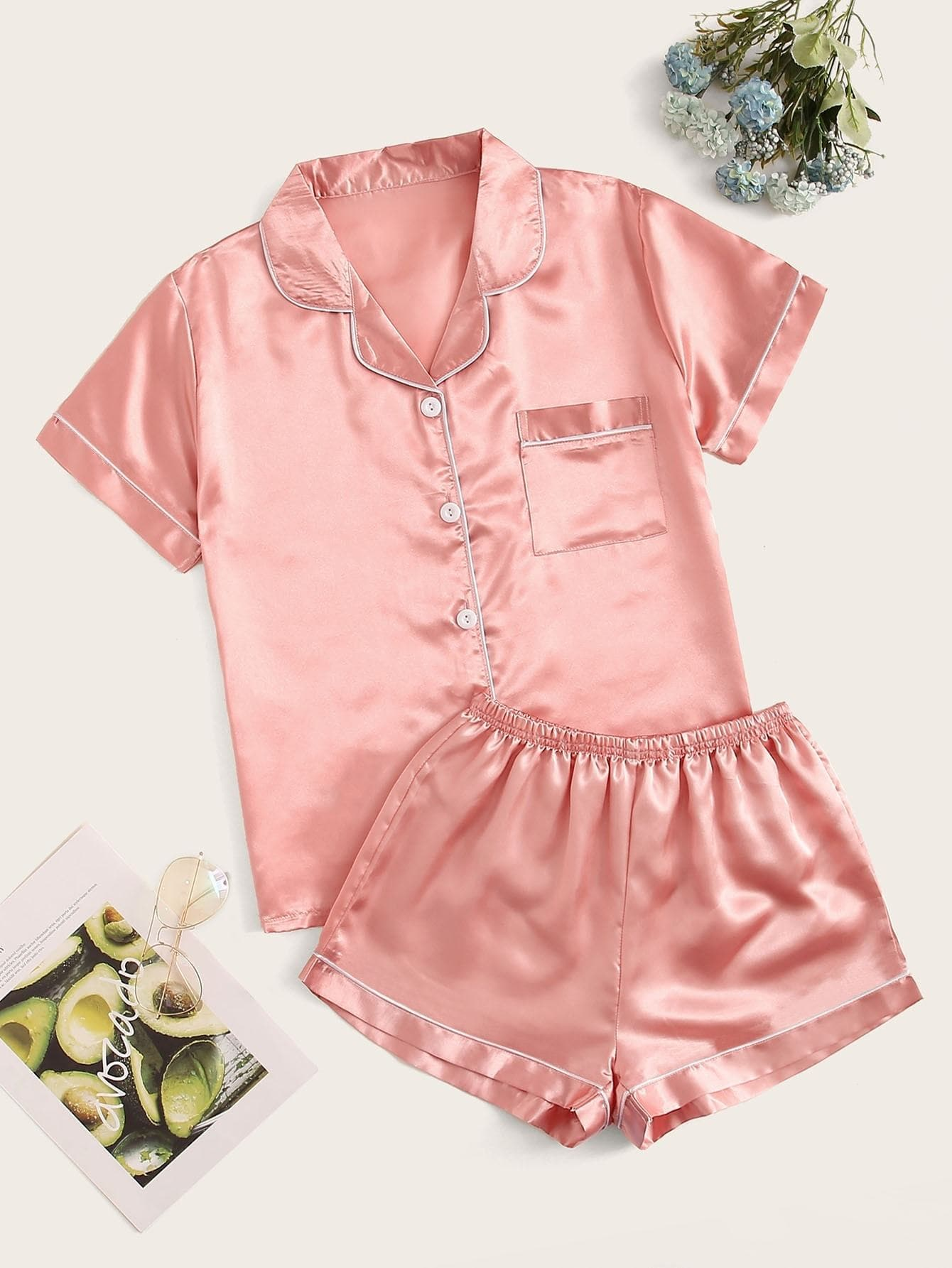 Contrast Binding Satin Pajama Set - FLJ CORPORATIONS