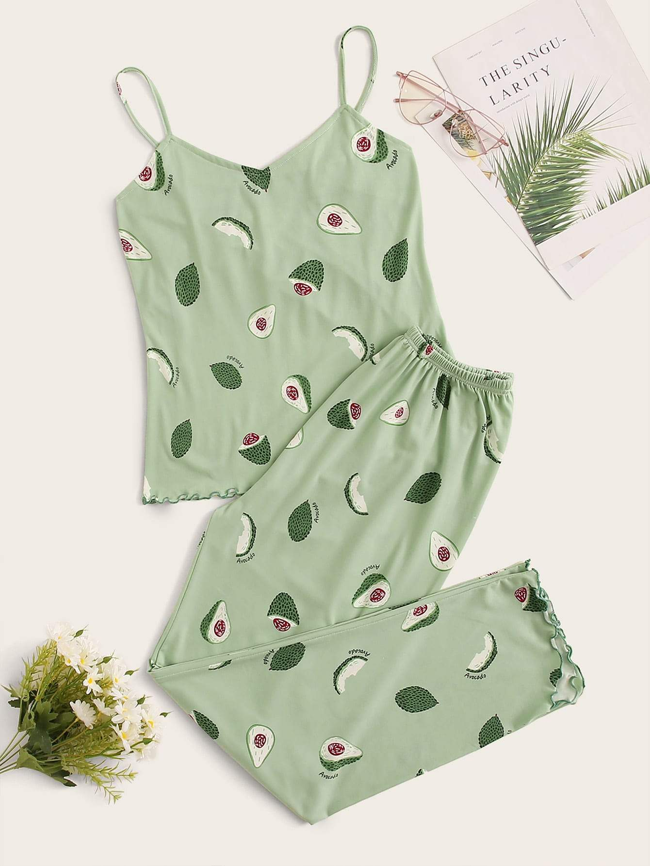 Avocado Print Lettuce Trim Cami PJ Set - FLJ CORPORATIONS