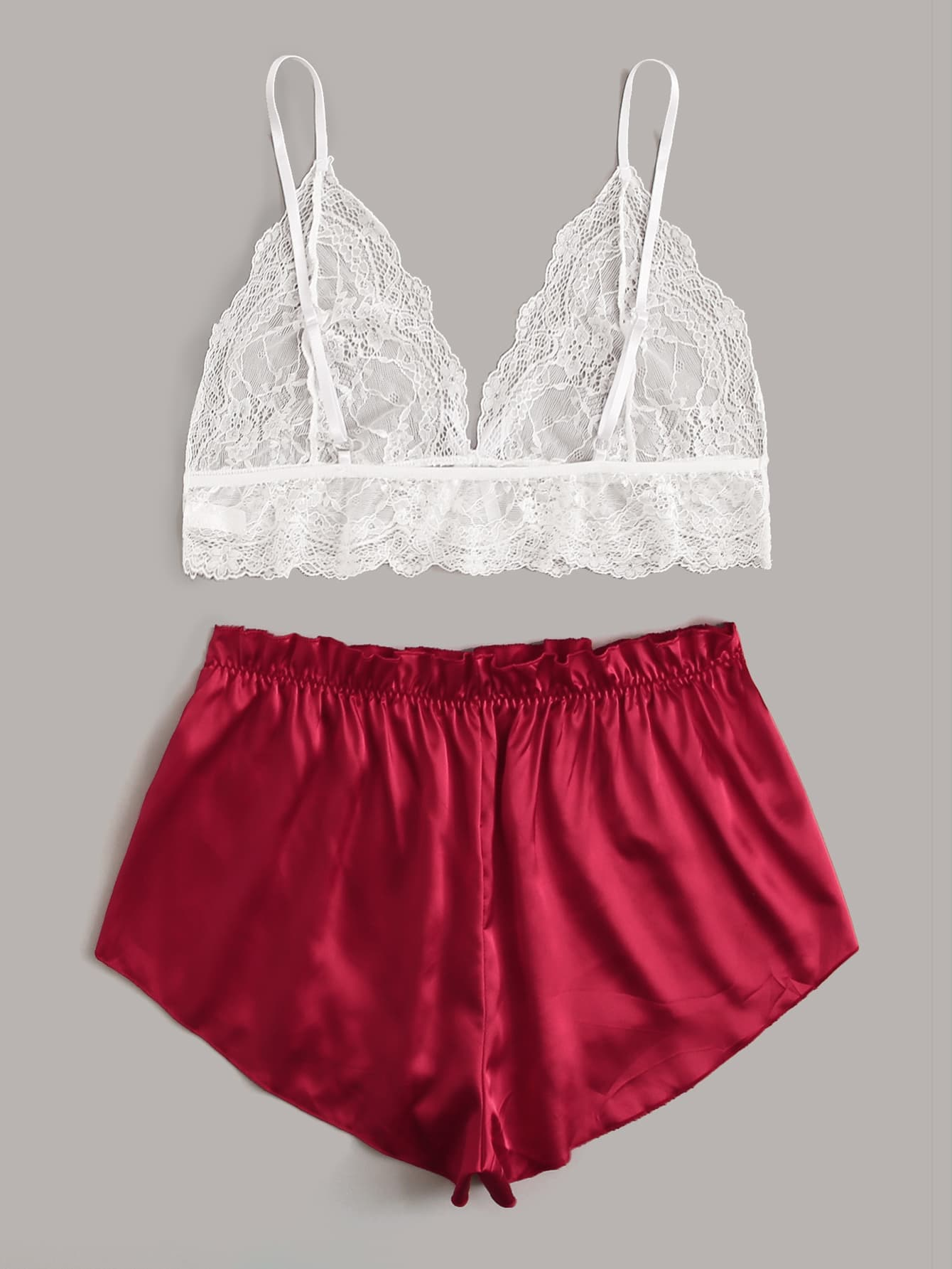 Plus Floral Lace Cami Top With Satin Shorts - FLJ CORPORATIONS