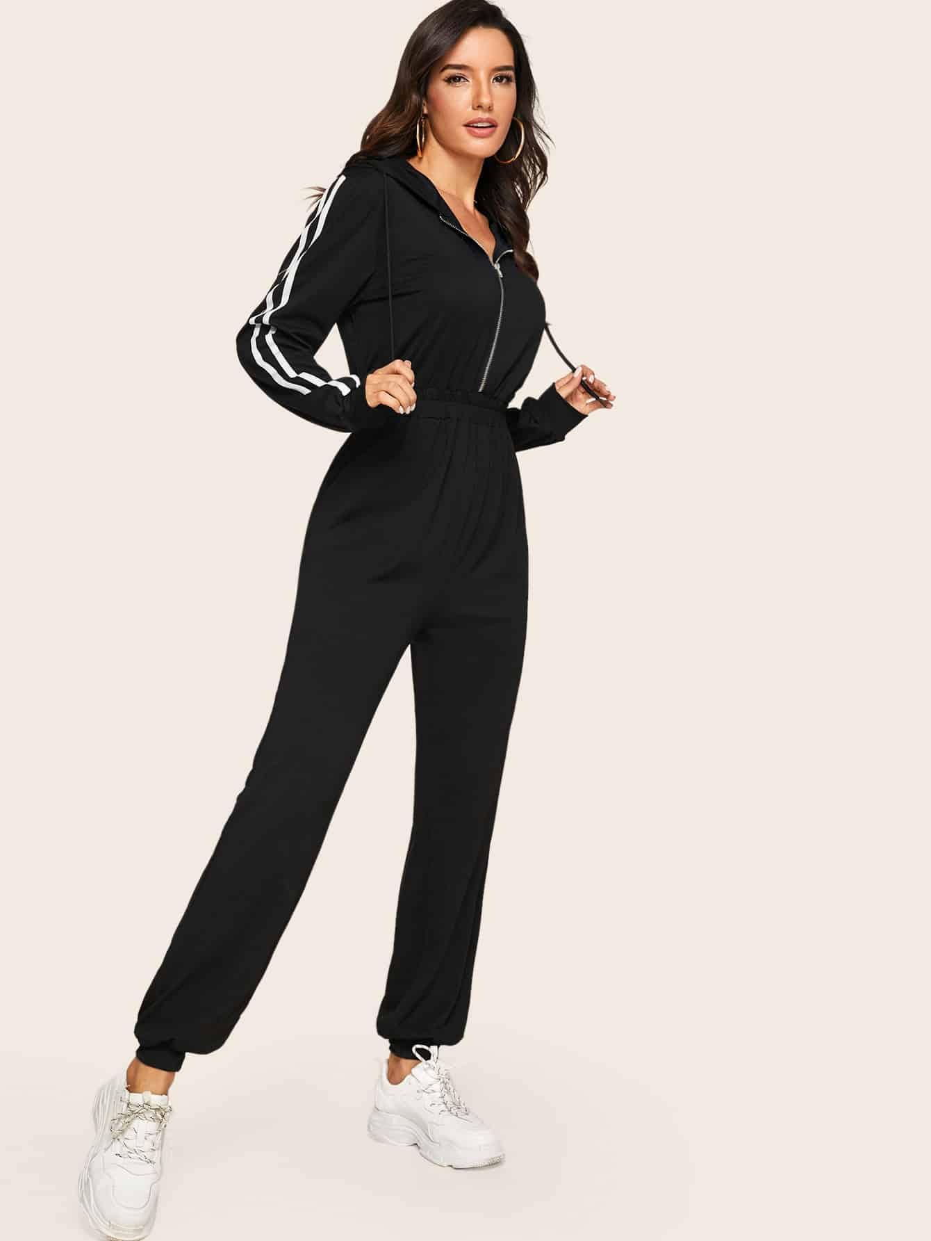 Striped Side Zip Front Drawstring Hooded Jumpsuit - FLJ CORPORATIONS